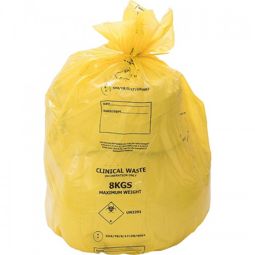Yellow Clinical Waste Sack (Roll of 25)
