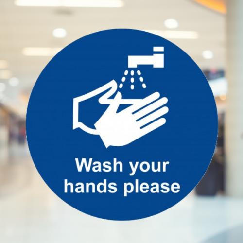 Wash your hands please floor sign