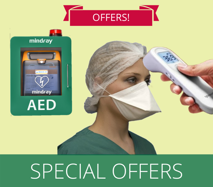 First Aid Special Offer Face Mask, Defibrillator Offers