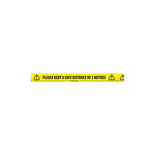 """50mm x 33m Black & Yellow Hazard Warning Tape """"SAFE DISTANCE 2 METRES""""  Roll"""