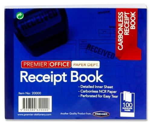 Premier Office Carbonless Receipt Book 100Pg