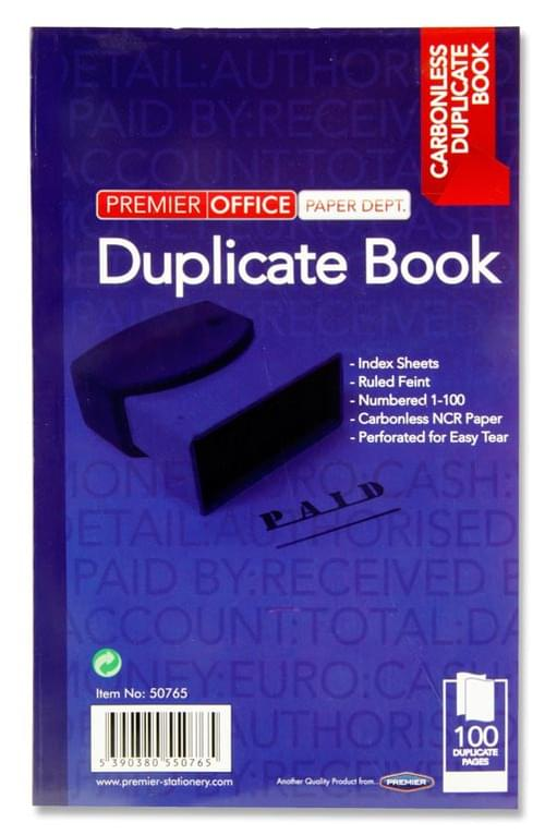 """Premier Office 8""""X5"""" Carbonless Duplicate Book 100 Sheets"""