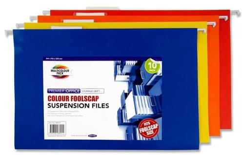 Premier Office Pack of 10 Foolscap Suspension Files - Coloured