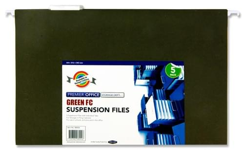 Premier Office Pack of 5 Foolscap Suspension File - Green