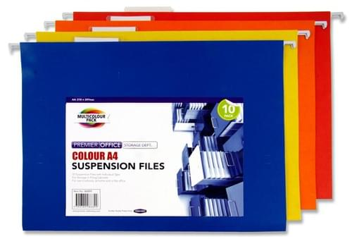 Premier Office Pack of 10 A4 Suspension Files - Coloured
