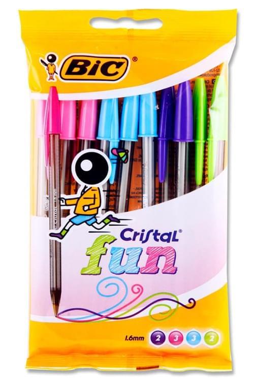 Bic Pack of 10 Cristal Ballpoint Pens - Fun