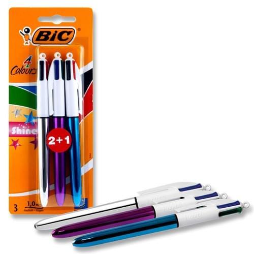 Bic Card 2+1 4 Colour Ballpoint Pens - Shine
