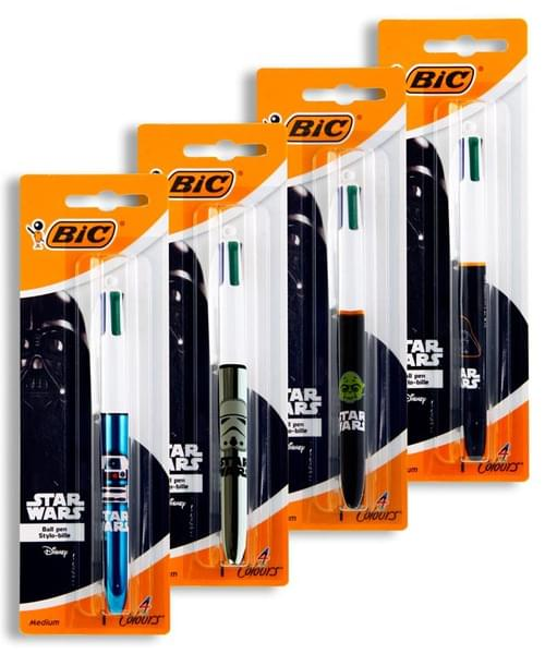 Bic Star Wars 4 Colour Ballpoint Pen - Carded 4 Colours Available