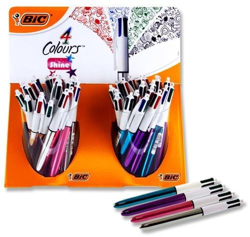 Bic 4 Colour Ballpoint Pen - Shine 4 Colours Available