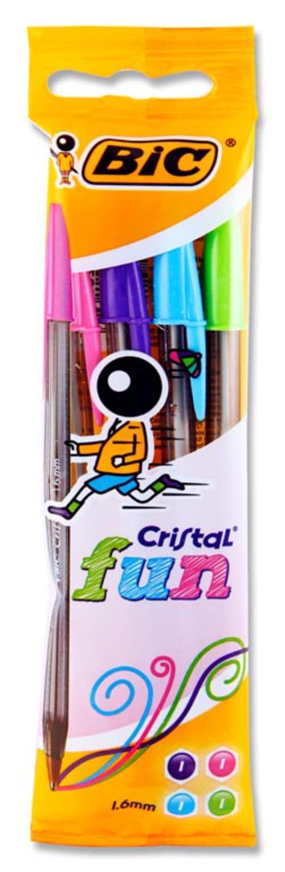 Bic Pack of 4 Cristal Fun Ballpoint Pens - Pastel