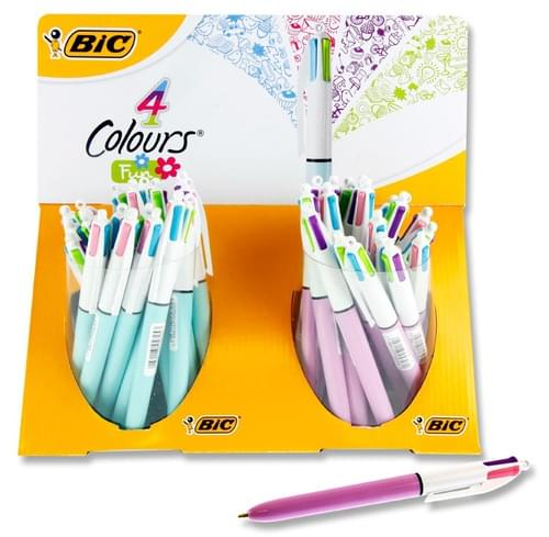 Bic 4 Colour Biro Fashion 2 Asst Pastel
