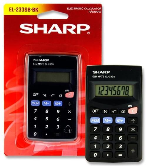 Sharp El-233S 8 Digit Pocket Calculator - Black