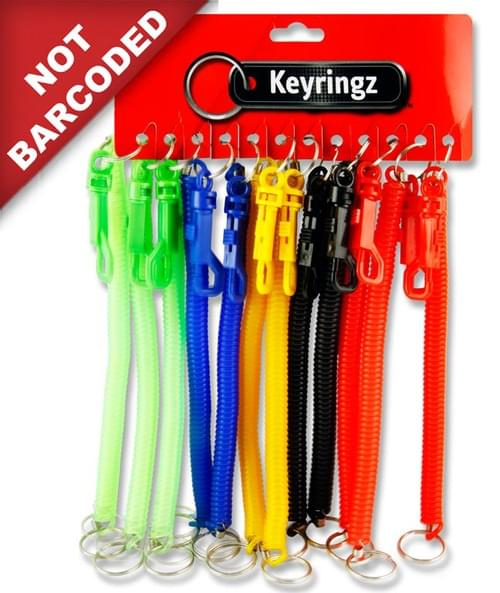 "Keyringz 8"" Spiral Keyring With Clip 6 Colours Available."
