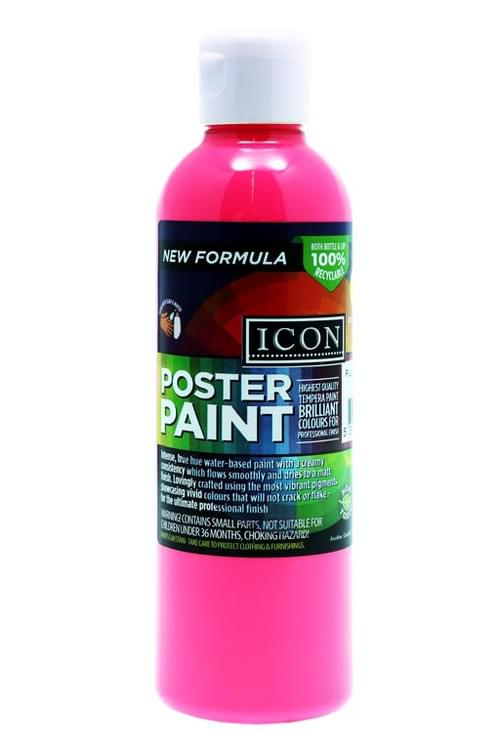 Icon 300Ml Fluorescent Poster Paint - Pink