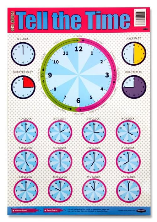 Clever Kidz Wall Chart - Tell The Time