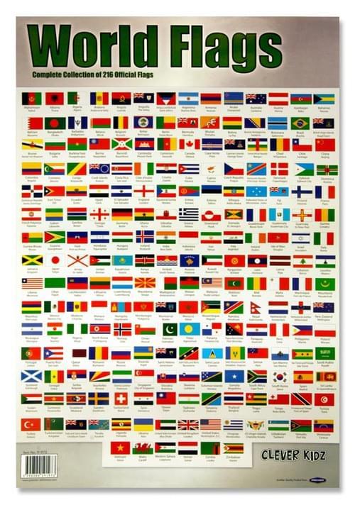Clever Kidz Wall Chart - World Flags & Capitals
