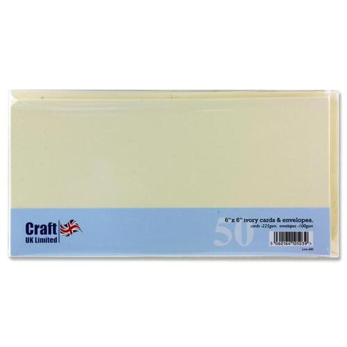 "Craft Pack of 50 6""X6"" 250Gsm Cards & Envelopes - Ivory"
