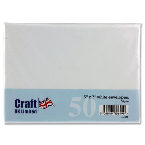 "Craft Pack of 50 5""X7"" 100Gsm Envelopes - White"