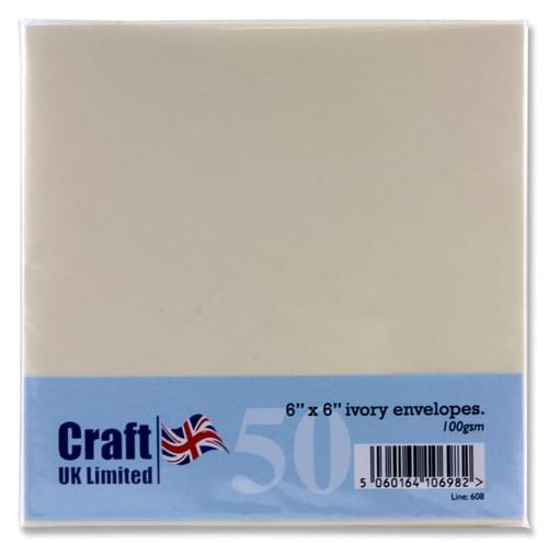 "Craft Pack of 50 6""X6"" 100Gsm Envelopes - Ivory"