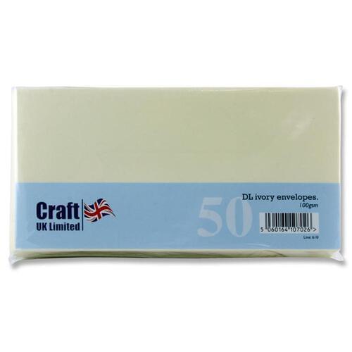 Craft Pack of 50 Dl 100Gsm Envelopes - Ivory