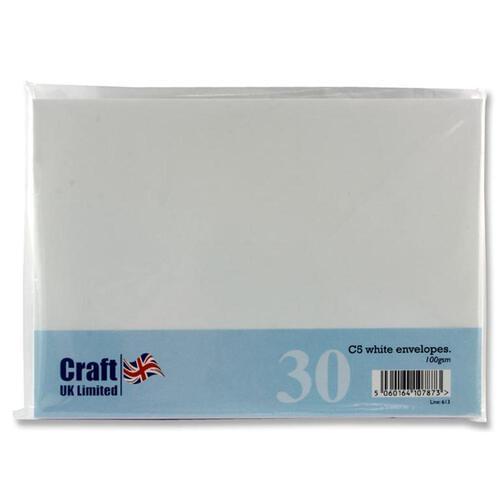 Craft Pack of 30 C5 100Gsm Envelopes - White
