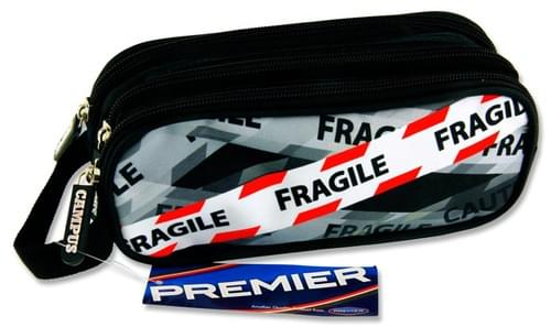 Premier Oval 3 Pocket Pencil Case - Fragile