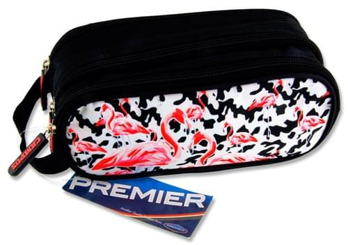 Premier Oval 3 Pocket Pencil Case - Flamingos