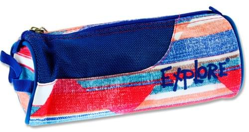 Explore Round Pencil Case - Diamond Stripes W/Blue