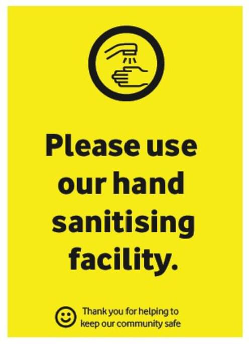 Please UseOur HandSanitisingFacility -Corriboard Sign - Own Manufacturer - COR3 - McArdle Computer & Office Supplies