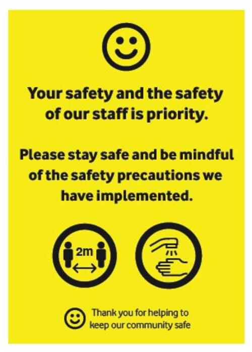Safety Precautions - Corriboard Sign - Own Manufacturer - COR5 - McArdle Computer & Office Supplies