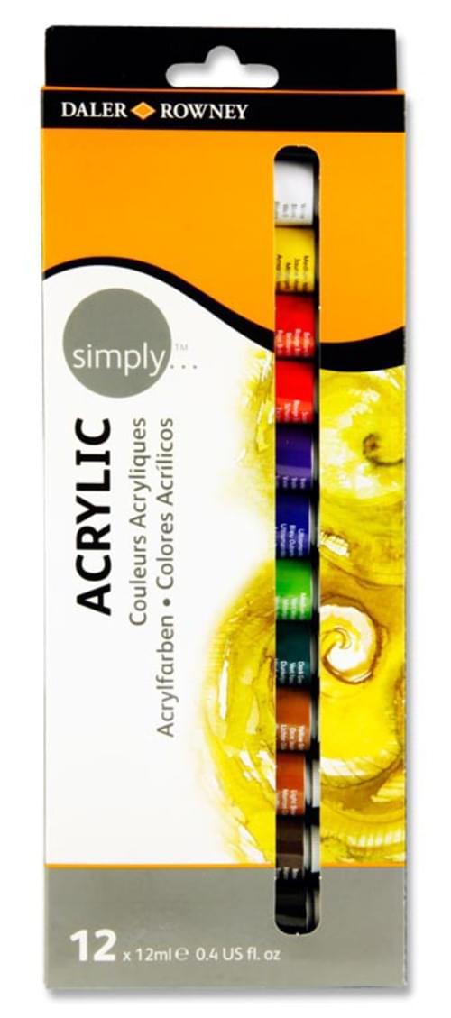 Daler Rowney Simply...Box 12X12Ml Acrylic Paints