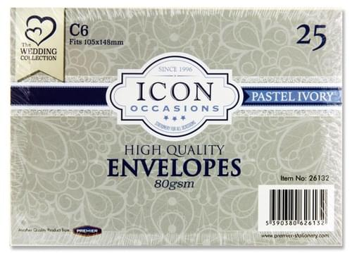 Icon Occasions Pack of 25 C6 80Gsm Envelopes - Ivory