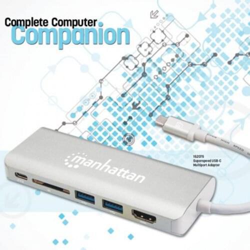 USB-C Multiport Adapter HDMI (4K2K 30HZ) Female, Two USB 3.0 Type-A Ports, USB-C Power Delivery (PD) Port, Gigabit RJ45 Port, SD Card Reader