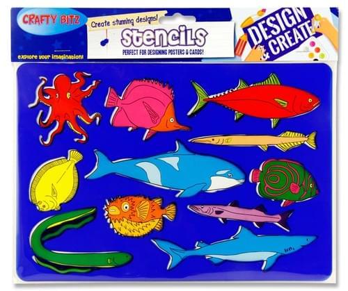 Crafty Bitz 185X265Mm Stencil - Fish