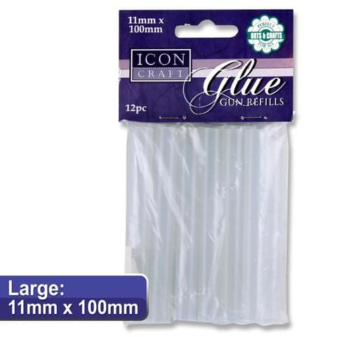 Icon Craft Pack of 12 11X100Mm Glue Gun Refills - Large