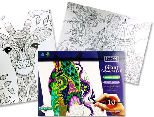Icon 615X455Mm Giant Colouring Pad - 10 Drawings
