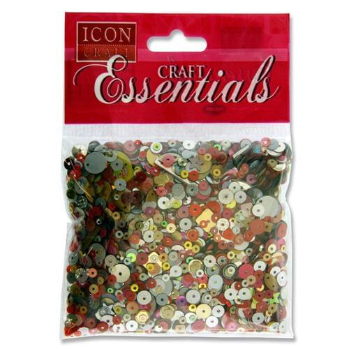 Icon Craft 40G Pack Sequins - Red Gold & Silver