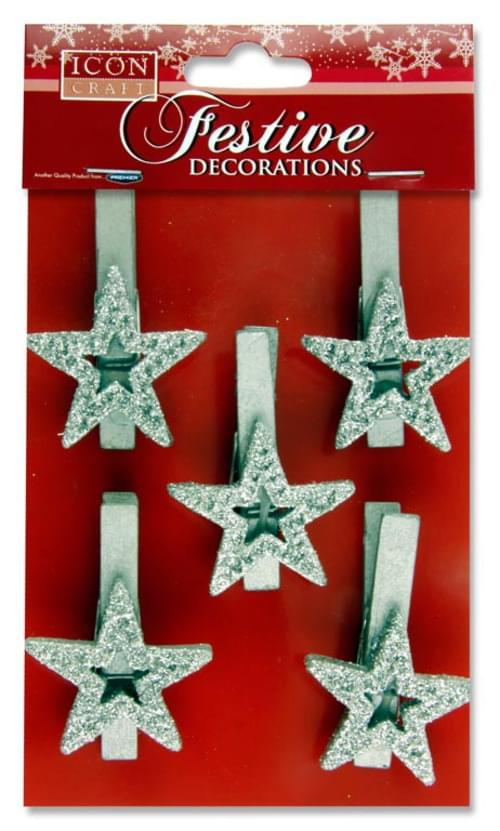 Icon Craft Pack of 5 Festive Peg Decorations - Star Silver