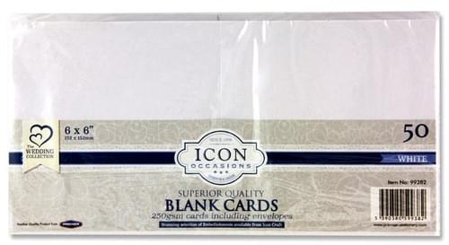 "Icon Occasions Pack of 50 6""X6"" 250Gsm Cards & Envelopes - White"