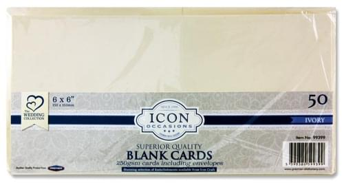 "Icon Occasions Pack of 50 6""X6"" 250Gsm Cards & Envelopes - Ivory"