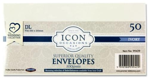 Icon Occasions Pack of 50 Dl 100Gsm Envelopes - Ivory