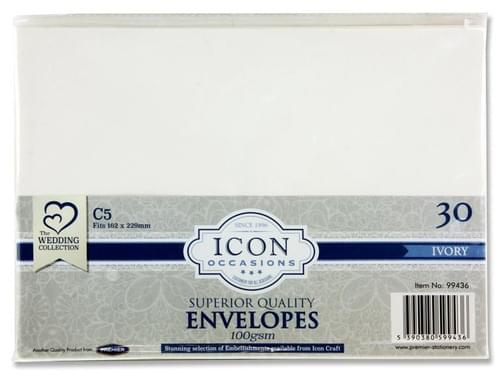 Icon Occasions Pack of 30 C5 100Gsm Envelopes - Ivory