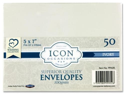 """Icon Occasions Pack of 50 5""""X7"""" 100Gsm Envelopes - Ivory"""