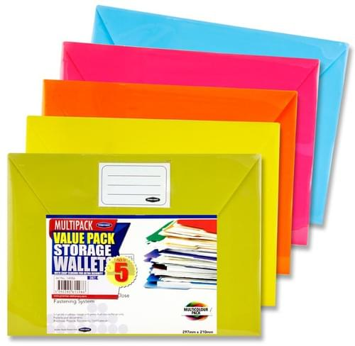 Premier Office Pack of 5 A4 Button Document Wallets - Bright