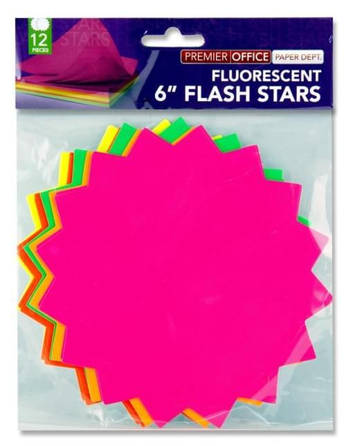 "Premier Office Pack of 12 6"" Flash Stars"