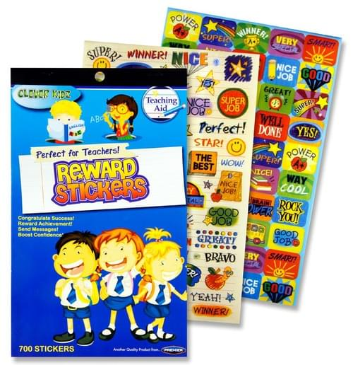 Clever Kidz Book 700+ Teachers Reward Stickers 4 Asst.