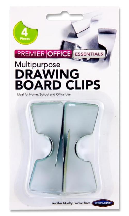 Premier Office Card 4 Drawing Board Clips