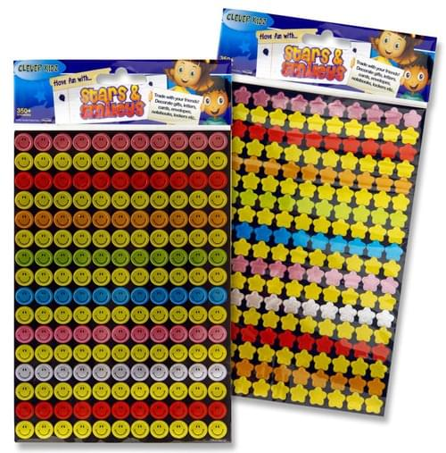 Clever Kidz Pack of 350 Stars & Smileys Stickers 2 Asst.