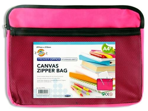 Premier Office A4+ Canvas Twin Zipper Bag - Pink