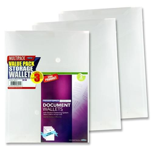 Premier Office Pack of 3 A4 Upright My Clear Bag Document Wallets - Clear